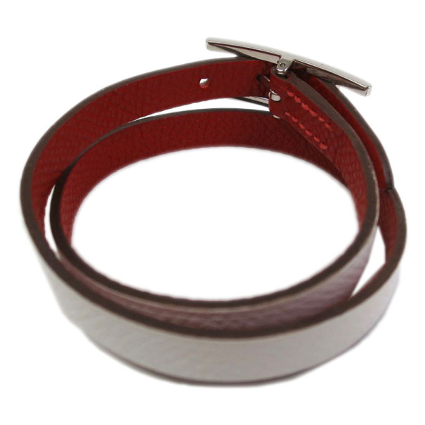 Hermes Behapi Double Tour White and Red Leather Bracelet XS