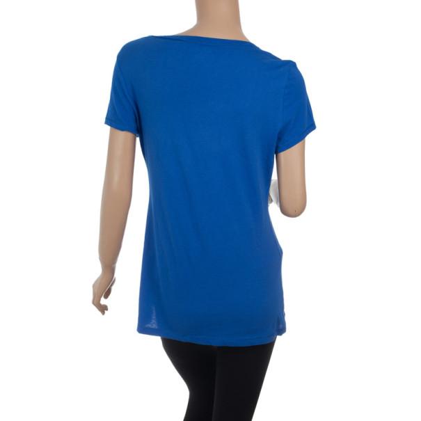 DKNY Blue Cotton T-Shirt S