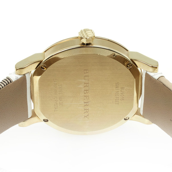 Burberry Nova Check Leather Gold Plated Womens Wristwatch 38 MM