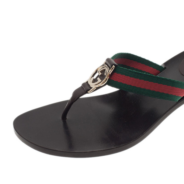 Gucci Web Detail GG Thong Sandals Size 38.5