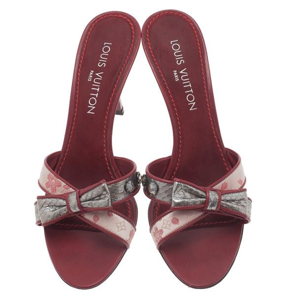 Louis Vuitton Red Monogram Satin Cherry Blossom Slides Size 39