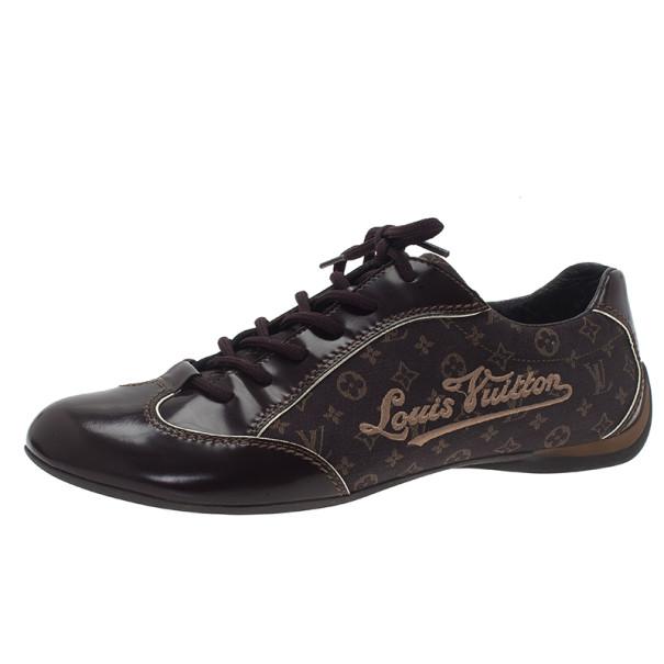 Louis Vuitton Brown Mini Lin Monogram Sneakers Size 40