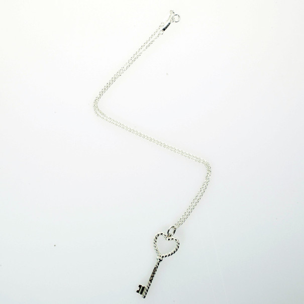 Tiffany & Co. Silver Twisted Key Pendant Necklace