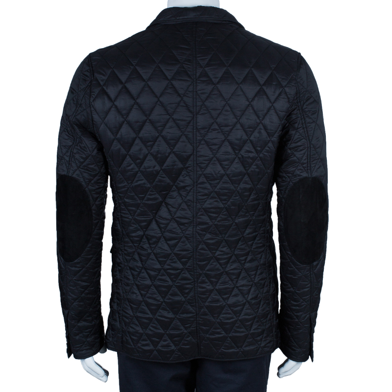 Burberry Men's Black Diamond Quilted Jacket L