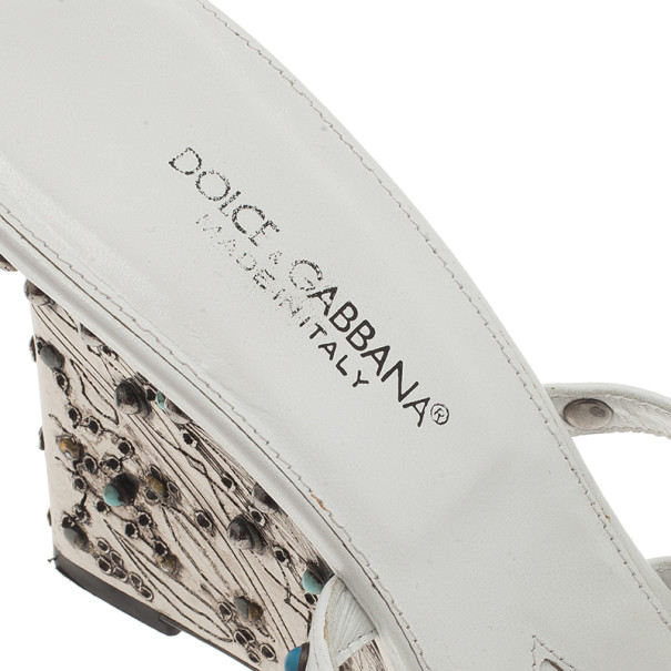 Dolce and Gabbana White Studded Ankle Strap Sandals Size 39