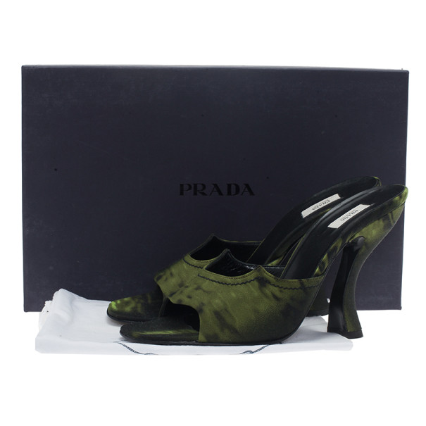 Prada Green Printed Canvas Sandals Size 39