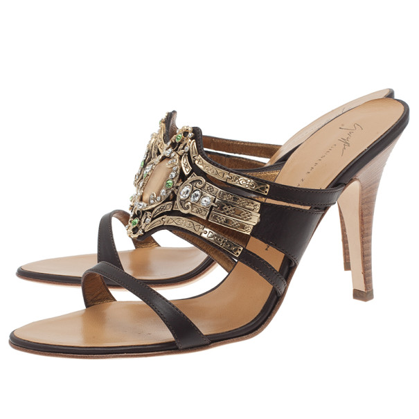 Giuseppe Zanotti Brown Leather Jeweled Mules Size 39.5