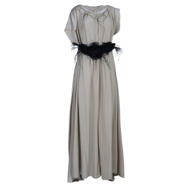 Roksanda Ilincic Beige Silk Satin Belted Column Gown M
