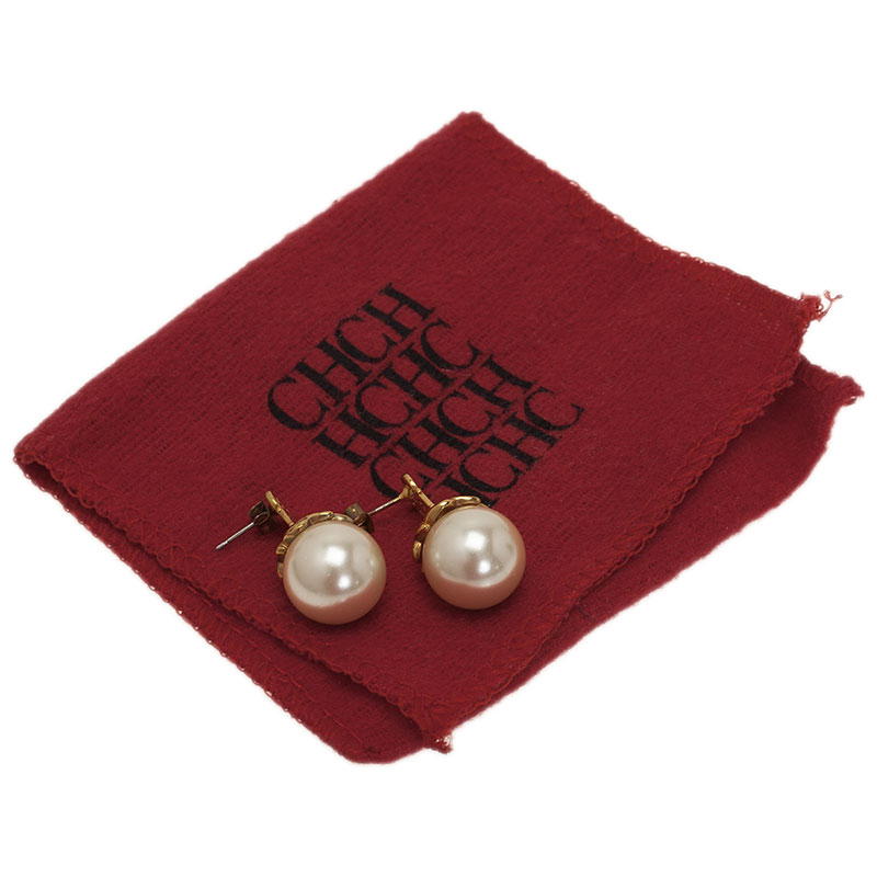 Carolina Herrera CH Faux Pearl Gold Tone Earrings