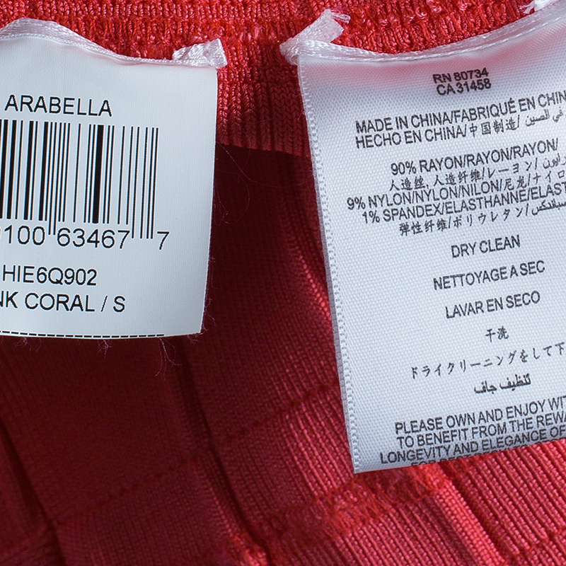 Herve Leger Arabella Pink Coral Dress S