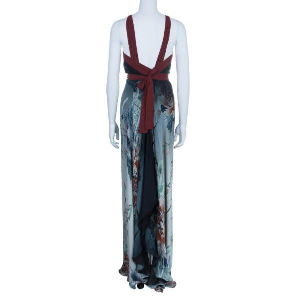 Roberto Cavalli Grey Chiffon Printed Maxi Dress M