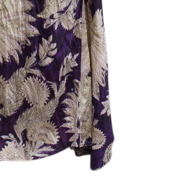 Roberto Cavalli Floral Print Crinkle Silk Dress S