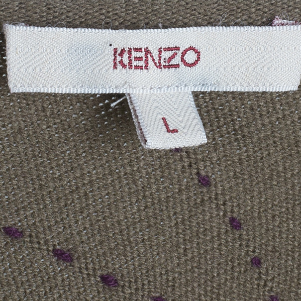 Kenzo Khaki Geometric Print Knit Oversize Dress L