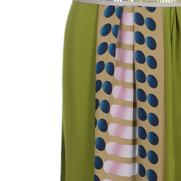 Missoni Green Printed Panel Sequin Belt Gown S