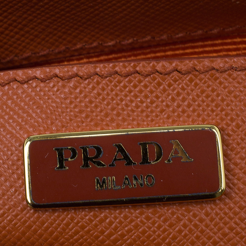 Prada Orange Saffiano Leather Mini Galleria Tote Bag