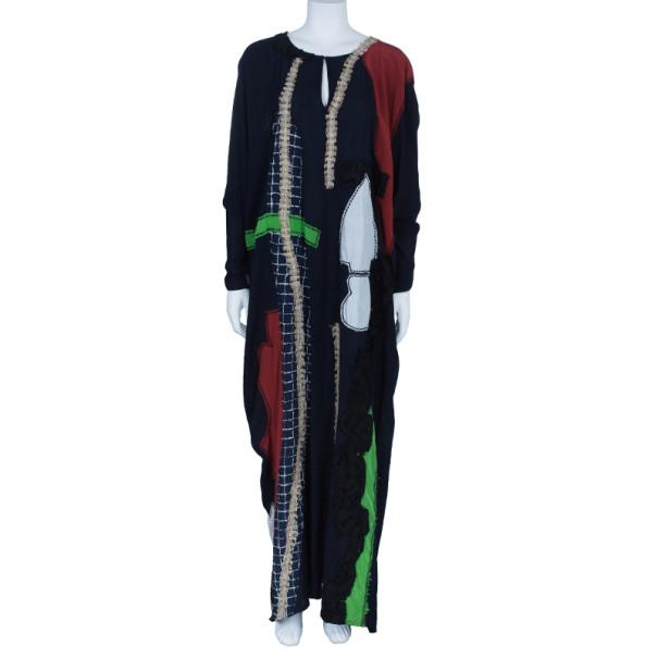 Oscar de la Renta Patchwork Silk Kaftan L