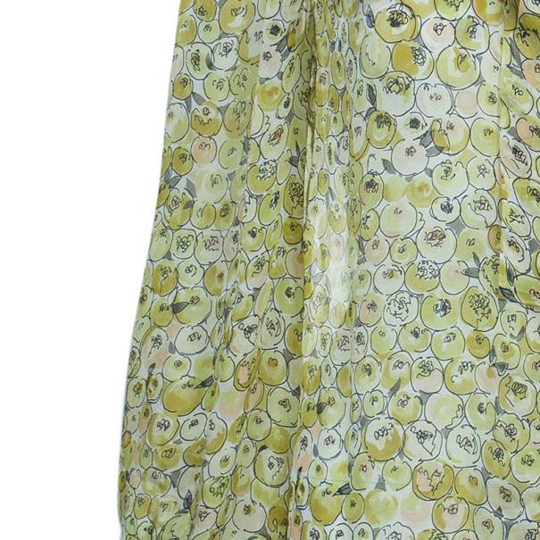 Valentino Yellow Print Neck Tie Top M