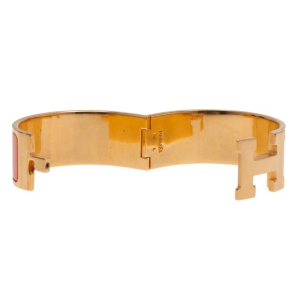Hermes Clic Clac H Wide Gold-Plated Orange Enamel Bracelet PM