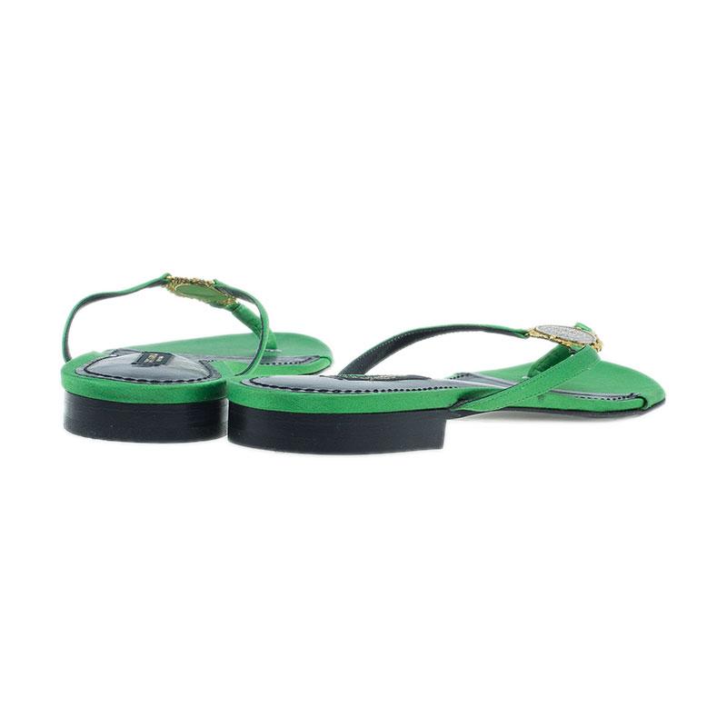 Dolce and Gabbana Green Satin Thong Sandals Size 38.5
