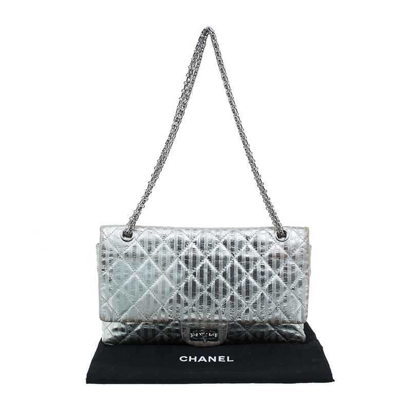 Chanel Metallic Silver Quilted Striped Leather Jumbo 2.55 Reissue Double Flap Bag