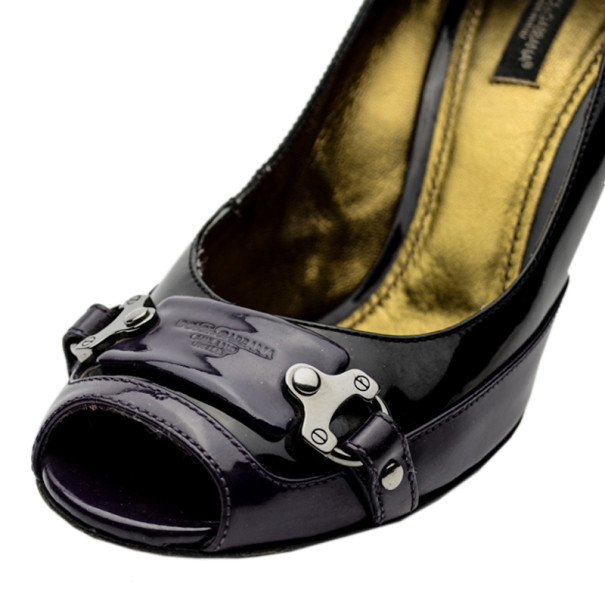 Dolce and Gabbana Purple and Black Leather Peep Toe Buckle Pumps Size 39