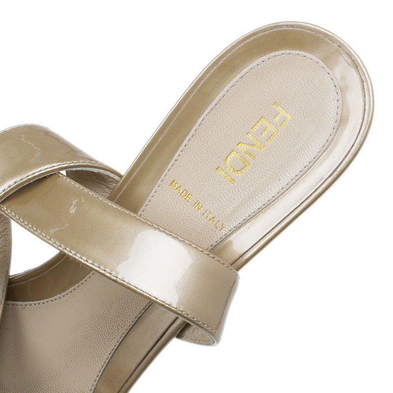 Fendi Gold Leather Ankle Wrap Sandals Size 38.5