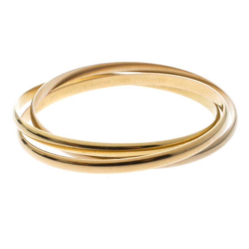 Купить со скидкой Cartier Trinity De Cartier 18k Three Tone Gold Rolling Bangle Bracelet