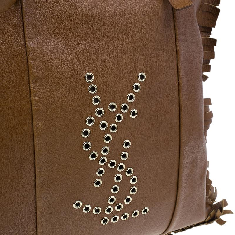 Saint Laurent Paris Brown Leather Fringe Grommet Signature Tote
