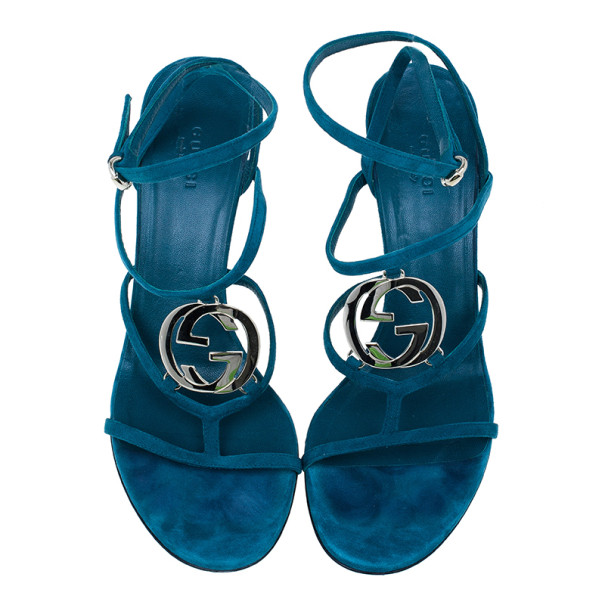 Gucci Turquoise Suede GG Cage Ankle Strap Sandals Size 39.5
