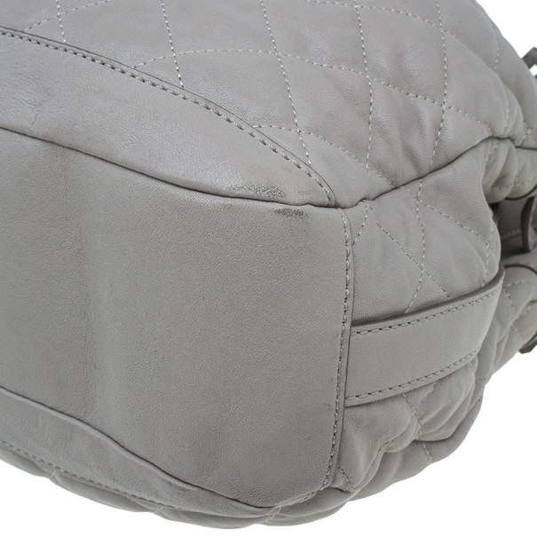 Burberry Grey Lambskin Quilted Hobo