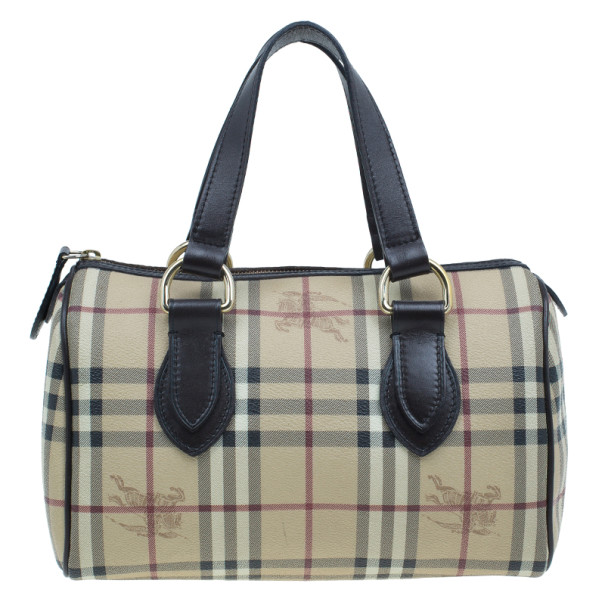 Burberry Haymarket Check Coated Canvas Small Bowling Bag
