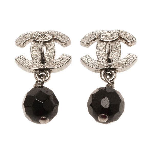 Chanel CC Black Crystal Drop Silver Tone Earrings