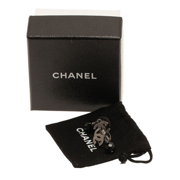 Chanel CC Black Crystal Drop Silver Tone Earrings