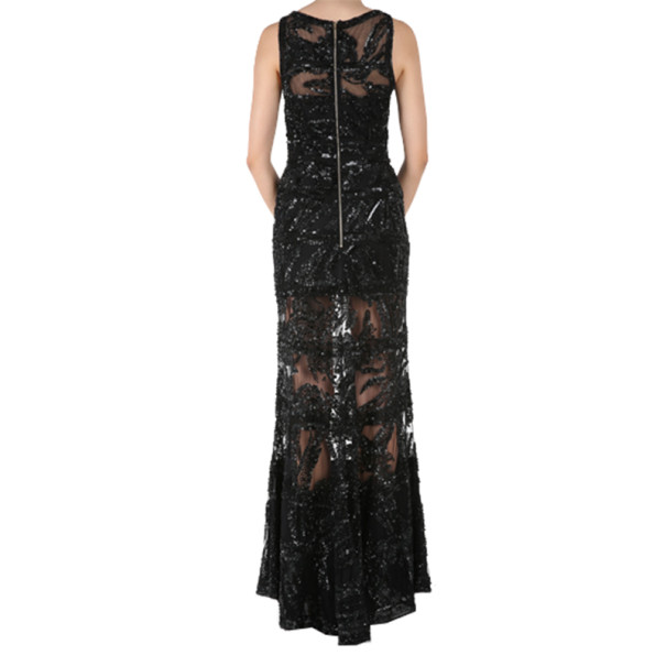 Elie Saab Black Sleeveless Embroidered Gown M