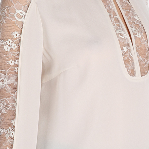 Elie Saab Cream Silk Lace-Detailed Tunic S