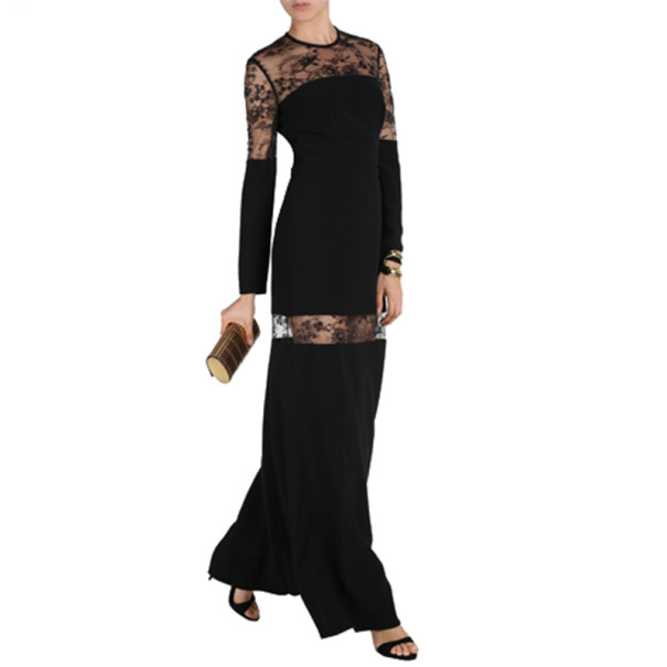 Elie Saab Black Lace-Detailed Long-Sleeved Gown M