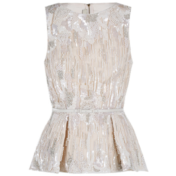 Elie Saab White Embroidered Sleeveless Top S