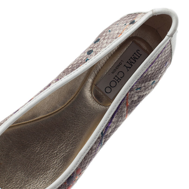 Jimmy Choo Python Embossed Bow Ballet Flats Size 36.5