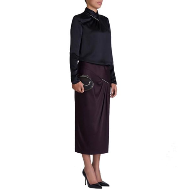 Jason Wu Aubergine Draped Tie-Bar Midi-Skirt L
