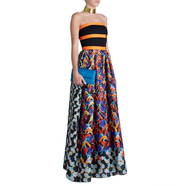 Peter Pilotto Freya Strapless Printed Dress M