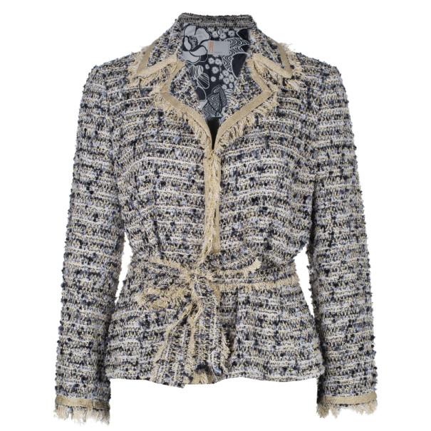 Missoni Multicolor Tweed Belted Jacket M
