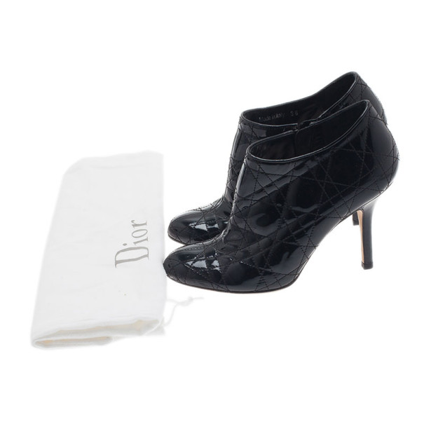 Dior Black Patent Cannage Ankle Booties Size 35