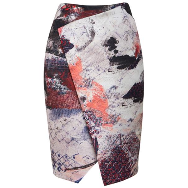 Prabal Gurung Asymmetric Printed Satin Skirt S