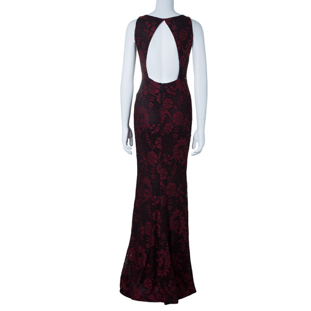 Alice + Olivia Red Veda Lace Open-back Gown S