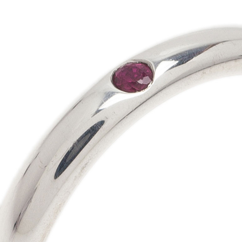 Tiffany & Co. Elsa Peretti Red Ruby Silver Band Ring Size 50.5