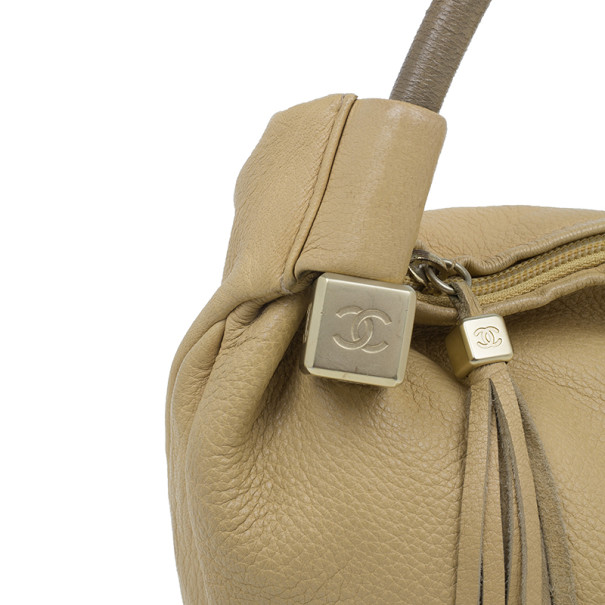 Chanel Beige Leather Tassel Hobo