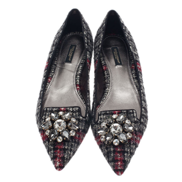 Dolce and Gabbana Crystal Embellished Tweed Ballet Flats Size 40