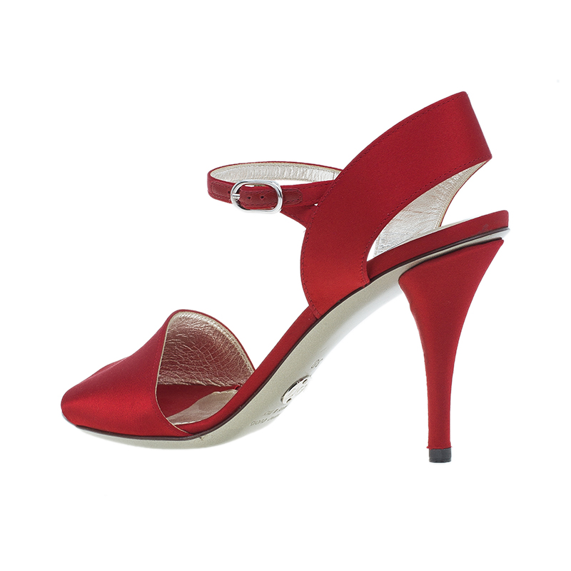 Dolce and Gabbana Red Satin Ankle Strap Sandals Size 38