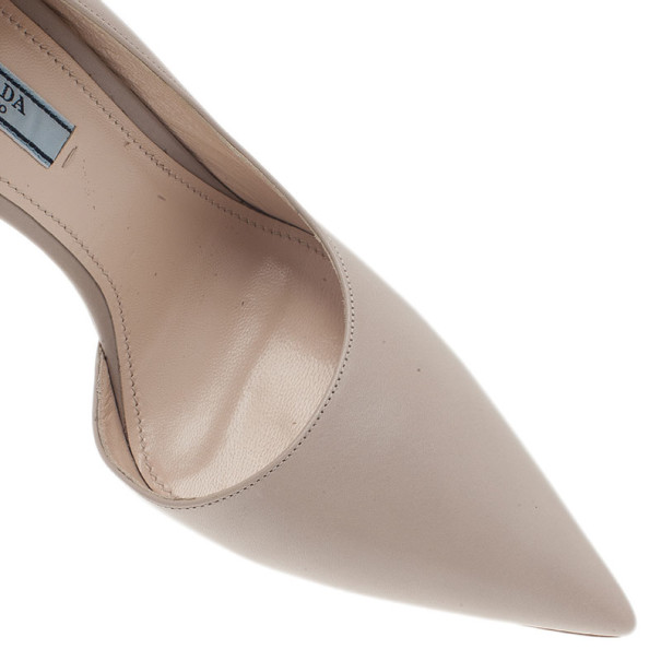 Prada Beige Leather D'orsay Pumps Size 39.5