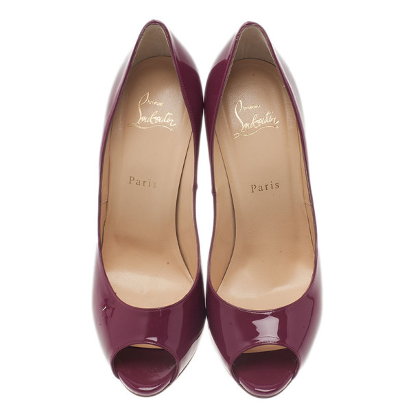 Christian Louboutin Burgundy Patent You You Peep Toe Pumps Size 40
